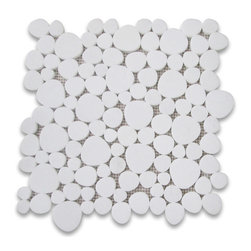 "Stone Center Corp - Thassos White Marble Heart Shaped Bubble Mosaic Tile Honed Carrera - Thassos White Marble random heart-shaped pieces mounted on 12x12"" sturdy mesh tile sheet"