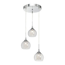 """Possini Euro Design - Contemporary Encircled Crystal Globe 12"""" Wide Halogen Multi Light Pendant - This set of three mini pendants has a modern look that's easy to clean and unquestionably hip. A chrome finish covers the canopy and hardware. Crystal strings are positioned neatly to surround and reflect the central halogen light while a clear glass rounded shape envelops the crystal. From the Possini Euro Design pendant collection. Chrome finish. Faceted crystal strings. Clear glass. Includes three 20 watt halogen bulbs. Adjustable up to 40"""" maximum hanging height. Each shade is 6"""" wide and 7"""" high. Canopy is 12"""" wide. Comes with electronic transformer. Weighs 6 lbs.  Chrome finish.   Clear glass.   By Possini Euro Design.  Includes three 20 watt halogen bulbs.   Each shade is 6"""" wide and 7"""" high.  Canopy is 12"""" wide.  Adjustable up to 40"""" maximum hanging height.  Comes with electronic transformer.  Weighs 6 lbs."""