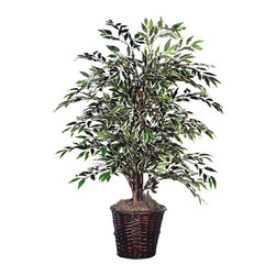 Vickerman - 4' Variegated Smilax Bush - 4' Variegated Smilax Bush with a dark brown rattan container