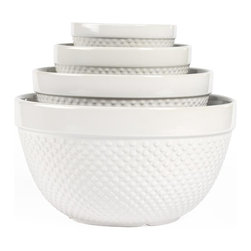 Tabletops Unlimited - 4 Piece Hobnail Mixing Bowl Set - Dishwasher Safe.  Microwave Safe. Material: Stoneware . 10.625 in. Bowl. 8.375 in. Bowl. 6.5 in. Bowl. 5 in. BowlThis Hobnail 4-piece Mixing Bowl Set by Tabletops Gallery® features the beloved Milk Glass Hobnail pattern - highly prized since the Victoria era for its allure and decorative style.