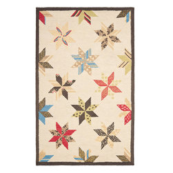 MSR3751B Martha Stewart Rug - 4'x6' - A beloved traditional quilt design named for two brothers who settled in Louisiana in 1699, Lemoyne Star is artfully updated for today��_s casual bedrooms and family rooms. Made in India of 100-percent wool, our Lemoyne Star area rug recreates the motif��_s classic eight-point star with large, hand-tufted loops.