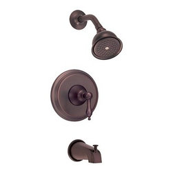 "Danze - Danze® Fairmont™ Single Handle Tub & Shower Faucet Trim Kit - Oil Rubbed Bronze - Traditional yet bold, the Danze® Fairmont™ is a graceful and elegant addition to your bath. When used in conjunction with the required pressure balance valve, this trim kit automatically maintains your desired water temperature. Available in multiple finishes. Features 4"" bell style showerhead All brass shower arm Diverter on spout ADA Compliant Manufacturer's limited ""lifetime"" warranty REQUIRES mixing valve D112000BT View Spec Sheet"