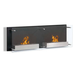 Moda Flame - Faro Wall Mounted Ethanol Fireplace - A bold decorative contemporary black steel backdrop with a floating protective glass front are the features that make Faro stylish and sleek. When mounted, the Faro is surely a conversational piece of art. The Faro holds two burners mounted on separate steel shelves that portray warmth and sophistication.