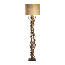 Kathy Kuo Home - Rustic Natural Vine Burlap Floor Lamp - A bold organic statement brings the rustic beauty of natural vine to light in this distinct floor lamp. Crafted by hand in the US, this piece touches upon the traditions of  outsider art, country crafts, and - surprisingly - the heyday of midcentury modernism. Eclectic and truly original, each one is unique; requiring four weeks for completion.