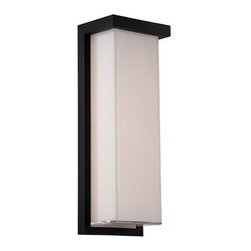 Modern Forms by WAC Lighting - Modern LED Outdoor Wall Light in Black Finish - WS-W1414-BK - Adorn you modern home�s outdoor walls with this modern LED light from WAC Lighting. It features a rectangular lamp shade made of white glass and an aluminum frame coated with a black finish. This fixture epitomizes the modern style; simple in design but still elegant. This modern LED outdoor wall light in black finish can be installed to walls via 5-inch by 14-inch backplate. The fixture itself is 14-inches high and 5-inches wide. Its compact profile adds to the fixture's versatility. This modern LED outdoor wall light includes a built-in LED that�s rated at a bright 1250 Lumens. Takes (1) 22-watt LED bulb(s). Bulb(s) included. ETL listed. Wet location rated.