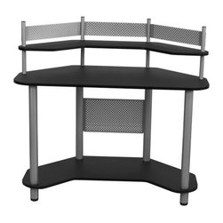 Calico Designs - Study Corner Desk in Silver and Black - Multipurpose Desk For Writing, Laptop Or Computer UseMain Top: 46  In. W X 23.5  In. DTop Shelf: 46  In. W X 15.5  In. DBottom Shelf: 43  In. W X 23.5  In. DLaminated Wood Desk With Powder Coated Steel Frame For Durability4 Floor Levelers For Stability. 46 in. W x 23.5 in. D x 42.25 in. H (52 lbs)  Have limited space but major storage needs? Calico Designs' Study Corner Desk provides ample space for computer and work accessories all in a compact, efficient work station. It features a spacious lower shelf for CPU or supplies and a Top Shelf for additional supplies or items you'd prefer to keep of your main work top.