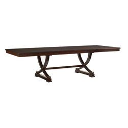 Lexington - Lexington Kensington Place Westwood Rectangular Dining Table - Featuring two 18 inch leaves crafted from Ribbon Stripe Mahogany veneer with burnished brass finished metal accents, this dining table provides luxurious space for entertaining guests.