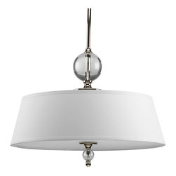 Progress Lighting - Progress Lighting P5034-104 Three-Light Pendant With White Linen Fabric Shade - Three-light pendant