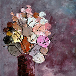 overstockArt.com - Ledent - Still Life (452120) - Still Life (452120) is a candy color display of abstract flowers in vase. Enjoy this still life in your home reproduced as a fine canvas print. Pol Ledent was born in 1952 in Belgium. He is a self-taught painter starting with watercolor, but rapidly came to the conclusion that oil painting would match his style better.