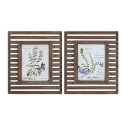 Uttermost - Herbs and Butterflies Wood Framed Art - Transform your space and allow nature to come in and spend some time with these reclaimed wood framed prints by artist Grace Feyock. The unusual open frames allow the wall color to show through adding another dimension and textural interest.