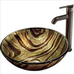 Vigo - VIGO VGT167 Zebra Vessel Sink and Faucet - The VIGO Zebra glass vessel sink and faucet set is bound to create a radiant light in your home.