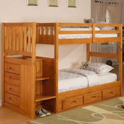 "Discovery World Furniture - Weston Twin over Twin Staircase Bunk Bed with Storage - Features: -Weston collection. -Natural finish. -Solid pine construction. -Bed features built in four drawer chest and magazine rack. -Chest and staircase are reversible. -Complete slat kit makes bed mattress ready. -Bed accommodates 8"" Mattress. -For bed no foundation required. -Optional trundle or three drawer underbed unit available - this item can only accommodate either the trundle or the drawers, not both. -Three 16"" deep drawer. -General conformity certificate. -Meets all ASTM and CPSC specification. -Discovery World Furniture provides one year limited warranty. -Dimensions: 63"" H x 41"" W x 98.5"" D."
