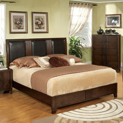 Furniture of America - Furniture of America Harbor Platform Bed Multicolor - IDF-7064Q - Shop for Beds from Hayneedle.com! Alternating panels of leatherette upholstery and wood lend the Furniture of America Harbor Platform Bed a beautiful urban style. This platform bed is built from solid wood with a brown cherry finish and the rail system requires a box spring (not included).Dimensions:Queen: 84.75L x 63W x 52H inchesEastern King: 84.75L x 79.25W x 52H inchesCal King: 88.75L x 75.25W x 52H inchesAbout Furniture of America Based in California Furniture of America has established itself as a premier provider of fine home furnishings. The people behind Furniture of America brand are moved by passion hard work and persistence. They are always striving to design the latest piece keeping in mind their mission to make quality furniture available to urban-minded shoppers without compromising the packaging integrity.Furniture of America offers unique coordinated and affordably designed furniture; they are a one-step resource for high-quality furniture with secure and professional packaging in the furniture industry.