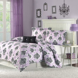 E & E Co., Ltd. - Katelyn Comforter Set in Purple - This luxuriously soft micro-fiber comforter set is bright and cheerful, adding a fresh, fun style to any room. A white background makes the cool purple and black fleur-de-lis pattern pop.