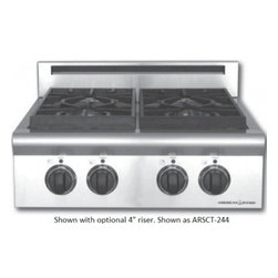 """American Range - Legend ARSCT244ISN 24"""" 4 Sealed Natural Gas Step-Up Burners Cooktop With Blue LE - The ARSCT244 will look great in any kitchen small or large With 4 sealed gas burners removable griddle plate and a griddle cover it is great for any family"""