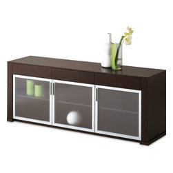 Domitalia Modern Sideboard Opal-3 - $2,399.00 - Domitalia Modern Sideboard Opal-3. The sideboard features a Wenge veneered frame, three tempered glass doors with an aluminum profile and three wooden drawers.