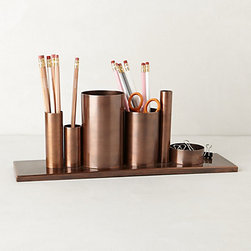 Anthropologie - Codify Pencil Holder - This bronze pencil holder would be equally as charming holding crafting notions as it is holding office supplies. It would do a lovely job corralling my knitting needles, safety pins and fabric scissors.