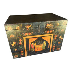 Pre-owned Hand Painted Vintage Trunk - This gorgeous one of a kind trunk from Thailand makes the perfect end of the bed piece, coffee table or media storage solution. Great conversation piece with tons of detail. Get it before it's gone - this piece won't last!