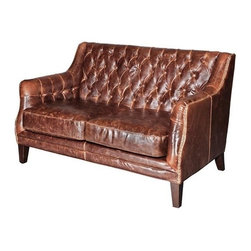 EuroLux Home - New Leather Settee Consigned Antiqued Brown - Product Details