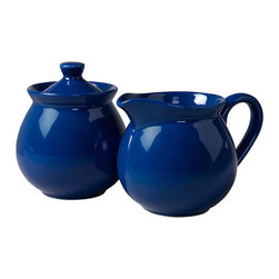 Waechtersbach - Waechtersbach Fun Factory Royal Blue Creamer and Sugar Set - For more than 175 years Waechtersbach has stood for colors and shapes, making life more bright and beautiful. Mix and match with other trendy Waechtersbach colors to make a table all your own.