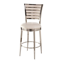 Hillsdale Furniture - Hillsdale Rouen Swivel Stool in Shiny Nickel - 30 Inch - High level luster and modern detailing give the Rouen Stool a sense of luxury with a sensible price tag. Constructed of metal in either a black nickel or shiny nickel finish the Rouen features a back pattern of alternating bars of metal and a cushion PU seat in matching black and ivory hues. The Rouen boasts a 360-degree swivel stool and is available in bar and counter heights. Some assembly required.