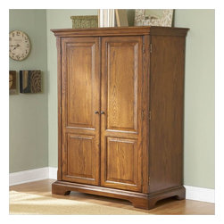 Riverside Furniture - Riverside Furniture Seville Square Computer Armoire in Warm Oak - Riverside Furniture - Computer Armoires - 8985 - Riverside's products are designed and constructed for use in the home and are generally not intended for rental commercial institutional or other applications not considered to be household usage. Riverside uses furniture construction techniques and select materials to provide quality durability and value in their products. The construction of Riversides core product line consists of a combination of cabinetmaker hardwood solids and hand-selected veneers applied over medium density fiberboard (MDF) and particle board. MDF and particle board are used in quality furniture for surfaces that require stability against the varying environmental conditions in modern homes.You'll appreciate the multiple-step application of Riverside's furniture finishes. Their finishing processes involve several steps of hand sanding applications of several types of finishing coats padding and polishing.