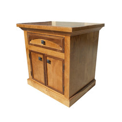 Rawhide 2-Door, 1-Drawer Nightstand - Handcrafted from solid alder wood with walnut accents.  Drawers all have dove tailed joints and ball bearing slides.  Shown with black hammered square drawer pulls.  Can be customized!