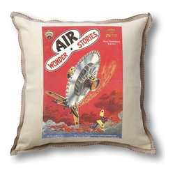 "Museum of Robots - Classic Sci-fi Illustration Air Wonder Stories Pillow Cover - Flying Buzz-Saw - This collection of pillow covers features art from classic science fiction magazine covers circa 1927-1934. The illustrator, Frank R. Paul, is considered the ""father"" of science fiction illustration, and many of his illustrations have come to define classic sci-fi works. Museum of Robots is the exclusive licensee for these images for housewares and home accessories. Features: -Art is cover of ""Air Wonder Stories"" April 1930, featuring ""Flying buzz-saw"". -Made of imported linen (55%) cotton (45%). -Japanese linen trim. -Invisible zipper at bottom. -Fits an 18"" pillow insert (not included). -Machine wash cold, gentle. -Made in the USA."