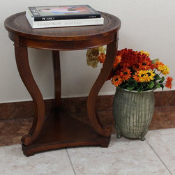 International Caravan - International Caravan Windsor Hand-carved 3-leg Hardwood Serpentine Table - Dress up an empty corner of a room with this stunning hardwood table. Made of a combination of hardwood and hardwood veneers,this hand-carved table has a level at the base that can be used for extra storage,and its carved detail adds stunning style.