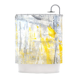 "Kess InHouse - CarolLynn Tice ""Abstraction"" Grey Yellow Shower Curtain - Finally waterproof artwork for the bathroom, otherwise known as our limited edition Kess InHouse shower curtain. This shower curtain is so artistic and inventive, you'd better get used to dropping the soap. We're so lucky to have so many wonderful artists that you'll probably want to order more than one and switch them every season. You're sure to impress your guests with your bathroom gallery in addition to your loveable shower singing."