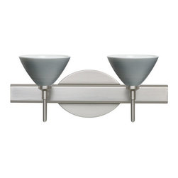 Besa Lighting - Besa Lighting 2SW-1743TN Domi 2 Light Reversible Halogen Bathroom Vanity Light - Domi has a classical bell shape that complements aesthetic, while also built for optimal illumination. Our Titan glass is a soft off-white cased glass that is handcrafted with spiraling strokes of silver, emphasizing the subtle brush pattern. The silvery rippled design is subdued and harmonious. Unlit, it appears as simply a textured surface like spun silk, but when lit the texture comes alive. The smooth satin finish on the clear outer layer is a result of an extensive etching process, with the texture of the subtle brushing. This blown glass is handcrafted by a skilled artisan, utilizing century-old techniques passed down from generation to generation. The vanity fixture is equipped with decorative lamp holders, removable finials, linear rectangular housing, and a removable low profile oval canopy cover.Features:
