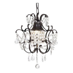"""The Gallery - Wrought Iron Crystalwag Plug In-chandelier - 100% crystalrought Iron chandelier. A Great European Tradition. Nothing is quite as elegant as the fine crystal chandeliers that gave sparkle to brilliant evenings at palaces and manor houses across Europe. This beautiful chandelier from the Versailles Collection has 1 light and is decorated and draped with 100% crystal that captures and reflects the light of the candle bulb. The frame is Wrought Iron, adding the finishing touch to a wonderful fixture. The timeless elegance of this chandelier is sure to lend a special atmosphere anywhere its placed! Please note this item requires assembly. Light bulbs not included. Size: H14"""" W11"""". This Item Comes with a Swag Plug-In Kit, 14 Feet of Hanging Chain and Wire"""