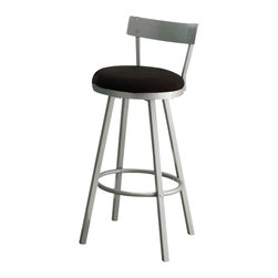Monarch Specialties - Monarch Specialties 2332 Swivel Barstool with Low Back in Silver (Set of 2) - These swivel barstools will be the perfect addition to any dining space. They feature sleek legs and a low profile seat back finished in a silver metal, as well as black microfiber seat cushions and a well positioned footrest for added comfort.
