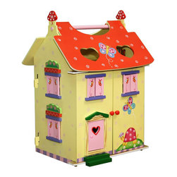 Teamson Design - Fantasy Fields Magic Garden Hand Carry Doll House - Teamson Design - Doll Houses - KYD11132A - Unlock the magic of Teamson's Magic Garden Doll House. An excellent addition to the ever-so-popular Magic Garden Collection this doll house kit ensures that your little ones will have a happy time flying their butterfly doll figurines (included!) around its quarters. Three levels of imagination and fun! Decorate the floors in your own unique way with a pink bed bathtub foot rest and love seat TV with stand table and chairs and sink with cabinets. This doll house has doors that open up for easy play time capability. Give your little one a chance to explore the levels of excitement with this doll house. Perfect for playrooms or nurseries.