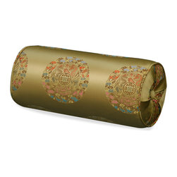 China Furniture and Arts - Silk Neck Pillow - Longevity, Gold - Embroidered with traditional Chinese pattern. The oriental word longevity, the symbol of long life and good fortune, is brocaded on the luxurious golden silk. Mix or arrange decoratively on a sofa, bed, or chaise. Zipper cover removes for dry cleaning.