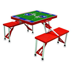 "Picnic Time - New York Giants Picnic Table Sport in Red - Picnic Time's portable Picnic Table is a compact fold-out table with bench seats for four that you can take anywhere. The legs and seats fold into the table when collapsed so the item is easy to store and transport. It has a maximum weight capacity of 250 lbs. per seat and 20 lbs. for the table. The seats are molded polypropylene with a basket weave pattern in the same color as the ABS plastic table top. The frame is aluminum alloy for durability. The Picnic Table is ideal for outdoor or indoor use, whenever you need an extra table and seats. It includes a hole in the center of the table to accommodate a standard sized beach umbrella (having a pole that is 1.25"" diameter or less). Pair it up with Picnic Time's multi-colored stripe Umbrella (812-00-996) or solid colored Umbrella 5.5 (822-00) in red, green, blue or black, sold separately.; Decoration: Digital Print"