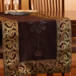 """Elegant Table Runners - Stunning """"Hand Painted"""" table runner. Coffee Brown color. Decorative Indian design."""