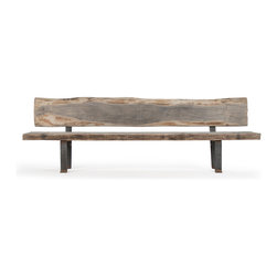 Kathy Kuo Home - Boulder Reclaimed Wood Heavy Iron Rustic Slab Long Bench - Bring the rustic charm of an antique park bench into your home with this gorgeous, natural reclaimed oak and weathered iron seat. The oversized wood bench seat and back look as if they washed ashore at your favorite beach and were crafted by a local artisan into this beautiful piece. It adds ample seating and elegance to an entryway, sitting room or den.
