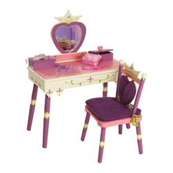 Levels of Discovery - Princess Vanity Table and Chair Set - Heart-shaped mirror with crown Special Message: Always a Princess Chair has crown backrest with removable heart-shaped back cushion and regal padded seat cushion with gold tassels Two heart-topped boxes with hinged lids store jewelry, makeup and other treasures One has a music box that plays Pomp and CircumstanceHeart-shaped Mylar mirror. Special message. Two heart-topped storage boxes. Plays Pomp and Circumstance. All products have instructions included for assembly