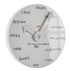 Alessi - Alessi '24h Sentence Maker' Clock - It's time to make a statement! This brilliant aluminum wall clock eschews ordinary hours and invites you to write in your own words how you feel about seizing the day.