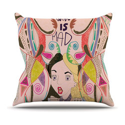 Mad Girl Throw Pillow - Fall into a world of wild color and wonderful madness. This playful pillow brings a bright wonderland to cozy up on your sofa.
