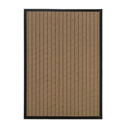 """Grandin Road - Lanai Outdoor Rug - 2'3"""" x 7'6"""" - Revolutionary flat-weave construction. 100% polypropylene fibers shrug off the elements. Indoor/outdoor versatility. Simply rinse clean with a hose. Our Lanai Outdoor Rug is a natural for outdoor living. The neutral ground with a black stippled line pattern and a black border will add a soft and durable surface to your porch or patio. It's the perfect addition to any space--feel free to take it inside for use in a high-traffic entryway or kitchen.. . . . Imported."""