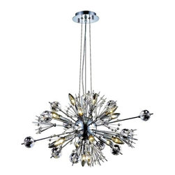 Elegant Lighting - 3400D24C/EC Cyclone 22 Lights Chandelier in Chrome w/ Elegant Cut Clear Crystal - These original chandeliers were first presented to the vienna state opera by the Austrian government for their appreciation of the restoration of their famous opera house.