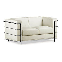 """Zuo Modern - Italian White Leather Love Seat w Steel Tube - This distinctive Italian Leather White Upholstered Love Seat evokes the great classics of modern furniture with its purity of design and unmistakable style!  The loveseat provides exceptional comfort thanks to its soft and supple White Italian Leather wrapped cushions.  The pleasingly proportioned and luxuriously comfortable Italian White Leather Loveseat with Steel Tube Chrome Frame features soft White Italian leather wrapped cushions and a chromed steel tube frame.  This classic love seat will enhance any contemporary room d̩cor scheme! * White Italian Leather Wrapped Cushions. Steel Tube Chrome Frame & Legs. 26"""" H x 30"""" W x 76"""" L. Seat: 16"""" H"""