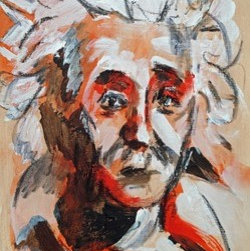 Albert - Male Portrait (Original) by Sharon Sieben - Contemporary Acrylic painting on paper that has been coated with archival gloss varnish and then bonded to a  wood cradle with sides painted black.  Does not need to be framed