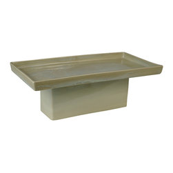 Rectangle Pedestal, Seafoam - Raise your food presentation to the next level, with this elevated rectangular platter. With your culinary creations on a pedestal, you'll have plenty of room for a full table of guests. This unique platter was handcrafted from stoneware clay.