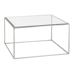 Stilt Accent Table - Simple and classic, this table has an iron frame with a polished nickel finish. It is completed with a smooth glass table top.