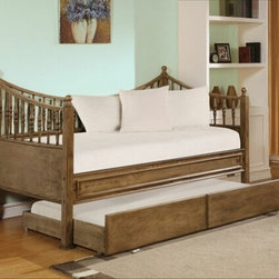 "Acme - Joshua Oak Finish Wood Twin Size Day Bed with Pull Out Trundle and Turned Poster - Joshua oak finish wood twin size day bed with pull out trundle and turned posters on the ends, with curved back panel. This set features a decorative back panel with trundle underneath and turned posters on the ends. Measures 82"" x 43"" x 48""H. Some assembly required."