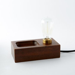 Wood Block Bulb Lamp - I would love this for my bedside table, which is super small. This lamp gives me a much-needed dish that I could use for my jewelry.