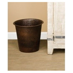 KCK Bathroom Mirrors & Accessories - Waste Basket In Antique - Elevate the status of your trash. This handcrafted, graceful, fluted hand hammered copper waste bin is an essential complement to Native Trails bath sinks, vanities and mirrors. Available in Antique and hand dipped Brushed Nickel finishes. Take your pick!